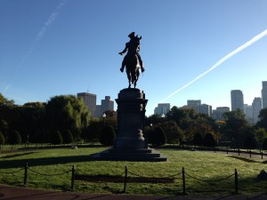Being welcomed to the Public Garden by George Washington