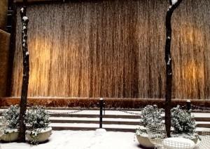 Snowy fountain on East 55th Street