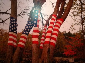 American Flags painted on trees in Battery Park to commemorate the 10th Anniversary of the September 11th Attacks.