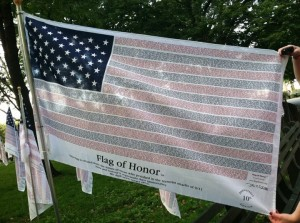 """Flag of Honor"" listing the name of each human who perished on September 11, 2001 displayed in Battery Park during the 10-year memorial."