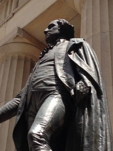 George Washington Statue at Federal Hall where he took Oath of office as First President of the United States