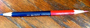 CLASSIC: the Berol Verithin red and blue pencil